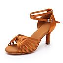 baratos Sapatos de Dança Latina-Mulheres Sapatos de Dança Cetim Sapatos de Dança Latina Salto Salto Alto Magro Preto / Marron / Bege