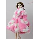 billige Toy Playsets-Dukkeutstyr Dukke frakk Frakker / jakker Til Barbie Rosa Ikke-vevet Stoff Bomullsklut polyester Frakk Til Jentas Dukke