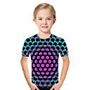 Χαμηλού Κόστους Μπλουζάκια για κορίτσια-Παιδιά Νήπιο Κοριτσίστικα Ενεργό Βασικό Γεωμετρικό Στάμπα Συνδυασμός Χρωμάτων Στάμπα Κοντομάνικο Κοντομάνικο Φούξια