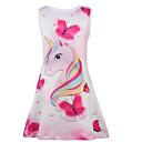 Χαμηλού Κόστους Φορέματα για κορίτσια-Παιδιά Κοριτσίστικα Γλυκός Unicorn Ζώο Κινούμενα σχέδια Στάμπα Αμάνικο Ως το Γόνατο Φόρεμα Ανθισμένο Ροζ