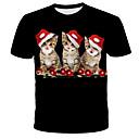 billiga Hundkläder-Tryck, 3D / Djur / Knytbatik T-shirt - Streetchic / drivna Herr Svart