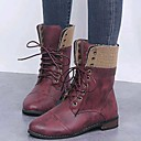 baratos Botas Femininas-Mulheres Botas Sapatos Confortáveis Sem Salto Ponta Redonda Couro Ecológico Botas Cano Médio Inverno Marron / Vermelho / Azul