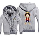 billiga Anime-huvtröjor och sweatshirts-Inspirerad av One Piece Monkey D. Luffy Animé Cosplay-kostymer Japanska cosplay Pull Tryck Långärmad Topp Till Herr