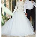 Χαμηλού Κόστους Νυφικά-Γραμμή Α Με Κόσμημα Ουρά μέτριου μήκους Δαντέλα / Τούλι Μακρυμάνικο Φορέματα γάμου φτιαγμένα στο μέτρο με Ζωνάρια / Κορδέλες 2020