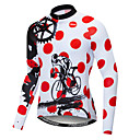 povoljno Maske za lice-21Grams Na točkice Noviteti Gear Muškarci Dugih rukava Biciklistička majica - Red and White Bicikl Biciklistička majica Majice UV otporan Prozračnost Ovlaživanje Sportski Zima Runo Poliester Elastan