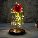 baratos Flores Artificiais & Vasos-presente de dia dos namorados tampa de vidro imitação rosa lâmpada decoração