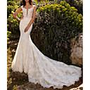 baratos Vestidos de Casamento-Sereia Decote V Cauda Corte Renda / Tule Manga Curta Vestidos de casamento feitos à medida com 2020