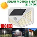 baratos Arandelas de Exterior-ZDM® 1pç 6 W Luz da parede solar Impermeável / Solar / Monitor de Detecção de Movimento Branco Frio 1.5 V Iluminação Externa / Pátio / Jardim 100 Contas LED