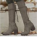 baratos Botas Femininas-Mulheres Botas Sapatos Confortáveis Salto Baixo Ponta Redonda Couro Ecológico Botas Cano Médio Outono & inverno Marron / Cinzento