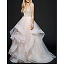 Χαμηλού Κόστους Νυφικά-Γραμμή Α Λαιμόκοψη V Μακρύ Δαντέλα / Τούλι Μακρυμάνικο Φορέματα γάμου φτιαγμένα στο μέτρο με 2020