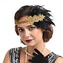 billiga Kvinnors hårtillbehör-Dam Statement Vintage 1920s Kristall Ädelsten och kristall Fjäder Tyg Enfärgad