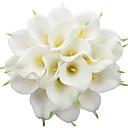 billige Kunstig Blomst-3 pinner calla lilje bryllup bukett realistisk berøringssimulering blomster hjemmefest dekorasjon