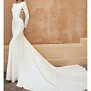 Χαμηλού Κόστους Νυφικά-Γραμμή Α / Τρομπέτα / Γοργόνα Με Κόσμημα Ουρά μέτριου μήκους Δαντέλα / Ελαστικό Σατέν Μακρυμάνικο Φορέματα γάμου φτιαγμένα στο μέτρο με Κέντημα 2020