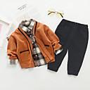 Χαμηλού Κόστους Σετ ρούχων για αγόρια-Νήπιο Αγορίστικα Ενεργό Καρό Μακρυμάνικο Σετ Ρούχων Καφέ