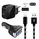 billiga Väggladdare-10 W Billaddare / Snabb laddare / Laddningsskal USB-laddare EU-kontakt Flerutgång / QC 3,0 / Laddningskit 4 USB-portar 3 A 100~240 V för Universell