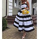Χαμηλού Κόστους Γυναικεία παπούτσια γάμου-Γυναικεία Κομψό Γραμμή Α Φόρεμα - Ριγέ Μακρύ Τιράντες