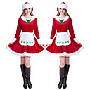 ราคาถูก ชุดซานตา&เดรสคริสต์มาส-Mrs.Claus หนึ่งชิ้น ชุดเดรส สำหรับผู้หญิง ผู้ใหญ่ พรรค Costume Party คริสมาสต์ วันคริสต์มาส กำมะหยี่ ชุดเดรส / หมวก