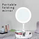 baratos Luzes inteligentes-Espelho de maquiagem de luz led forma redonda vaidade de desktop cosméticos 5x / 10x espelho de aumento dupla face espelhos retroiluminados para as mulheres