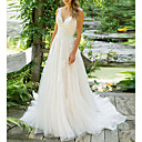 baratos Vestidos de Casamento-Linha A Decote V Longo Tule Alças Regulares Vestidos de casamento feitos à medida com Apliques 2020