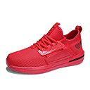 baratos Sapatos Esportivos Masculinos-Homens Sapatos Confortáveis Com Transparência / Couro Ecológico Outono Esportivo Tênis Corrida Não escorregar Preto / Branco / Vermelho