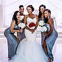 Χαμηλού Κόστους Νυφικά-Τρομπέτα / Γοργόνα Λαιμόκοψη V Ουρά μέτριου μήκους Δαντέλα / Τούλι Λεπτές Τιράντες Sexy / Με Όμορφη Πλάτη Φορέματα γάμου φτιαγμένα στο μέτρο με Διακοσμητικά Επιράμματα 2020