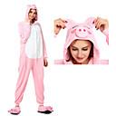 billiga Kigurumi-Vuxna Kigurumi-pyjamas Gris Onesie-pyjamas Flanell Rosa Cosplay För Herr och Dam Pyjamas med djur Tecknad serie Festival / högtid Kostymer