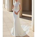 baratos Vestidos de Casamento-Tubinho Gola Alta Cauda Corte Renda / Cetim Alças Vestidos de casamento feitos à medida com Aplicação de renda 2020
