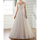 baratos Vestidos de Casamento-Linha A Decote V Cauda Escova Tule Alças Regulares Vestidos de casamento feitos à medida com Apliques 2020