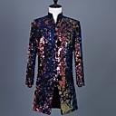 billiga Kostymer-Mörk marin Mönstrad Skräddarsydd passform Polyester Kostym - Trubbig Inga knappar