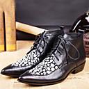 Χαμηλού Κόστους Αντρικά Πέδιλα-Ανδρικά Fashion Boots Νάπα Leather Χειμώνας / Φθινόπωρο & Χειμώνας Βίντατζ / Βρετανικό Μπότες Διατηρείτε Ζεστό Μποτίνια Μαύρο / Πάρτι & Βραδινή Έξοδος