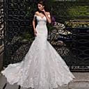 Χαμηλού Κόστους Νυφικά-Τρομπέτα / Γοργόνα Ώμοι Έξω Ουρά μέτριου μήκους Δαντέλα / Τούλι Κοντομάνικο Φορέματα γάμου φτιαγμένα στο μέτρο με 2020