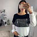 billiga Modehalsband-Färgblock T-shirt Dam Vit