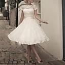 Χαμηλού Κόστους Νυφικά-Γραμμή Α Με Κόσμημα Κάτω από το γόνατο Δαντέλα Κοντομάνικο Φορέματα γάμου φτιαγμένα στο μέτρο με Φιόγκος(οι) 2020