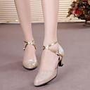 baratos Sapatos Para Dança de Salão & Dança Moderna-Mulheres Sapatos de Dança Moderna / Dança de Salão Sintéticos Fivela Salto Presilha / Lantejoula Salto Cubano Sapatos de Dança Preto / Marron / Roxo / Espetáculo / Ensaio / Prática