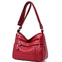 Χαμηλού Κόστους Τσάντες Tote-Γυναικεία Φερμουάρ PU Σταυρωτή τσάντα Συμπαγές Χρώμα Μαύρο / Ρουμπίνι