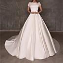 Χαμηλού Κόστους Νυφικά-Βραδινή τουαλέτα Bateau Neck Μακριά ουρά Πολυεστέρας Κοντομάνικο Φορέματα γάμου φτιαγμένα στο μέτρο με 2020