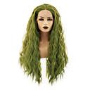 Χαμηλού Κόστους Συνθετικές περούκες με δαντέλα-Συνθετικές μπροστινές περούκες δαντέλας Ίσιο Ξεμωραμένος Μέσο μέρος Δαντέλα Μπροστά Περούκα Μακρύ Πράσινο Συνθετικά μαλλιά 22-26 inch Γυναικεία Ανθεκτικό στη Ζέστη Γυναικεία Hot Πώληση Πράσινο