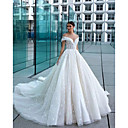 Χαμηλού Κόστους Νυφικά-Βραδινή τουαλέτα Ώμοι Έξω Μακριά ουρά Δαντέλα / Τούλι Κοντομάνικο Φορέματα γάμου φτιαγμένα στο μέτρο με 2020