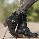 baratos Botas Femininas-Mulheres Botas Sapatos Confortáveis Salto Baixo Ponta Redonda Couro Ecológico Botas Curtas / Ankle Inverno Preto / Castanho Escuro