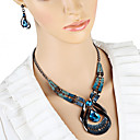 billiga Jewelry Set-Dam Dropp Örhängen Chokerhalsband Hänge Halsband 3D Unik design Vintage örhängen Smycken Blå Till Helgdag 1set
