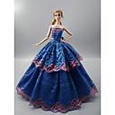 billiga Docktillbehör-Dollklänning För Barbie Blommig Botanisk Polyester Klänning För Flicka Dockleksak