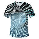 Χαμηλού Κόστους Συνθετικά εξτένσιον-Ανδρικά Μέγεθος EU / US T-shirt Βασικό 3D Στρογγυλή Λαιμόκοψη Ουράνιο Τόξο / Κοντομάνικο