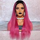 Χαμηλού Κόστους Χωρίς κάλυμμα-Remy Τρίχα Δαντέλα Μπροστά Περούκα Βαθιά διαίρεση στυλ Βραζιλιάνικη Ίσιο Ροζ Περούκα 130% Πυκνότητα μαλλιών με τα μαλλιά μωρών Διαβάθμιση χρώματος Φυσική γραμμή των μαλλιών Γυναικεία Μακρύ