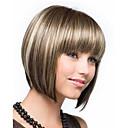Χαμηλού Κόστους Συνθετικές περούκες χωρίς σκουφί-Συνθετικές Περούκες Ίσιο Ίσια Κούρεμα καρέ Περούκα Κοντό Μπεζ Συνθετικά μαλλιά Γυναικεία Μαλλιά μπαλαγιάζ Καφέ StrongBeauty