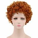 billige Syntetiske parykker uten hette-Syntetiske parykker Krøllet Pixiefrisyre Parykk Kort Rød Syntetisk hår 8 tommers Dame syntetisk Rød