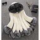 Χαμηλού Κόστους Γαμήλιες Εσάρπες-Γυναικεία Χειμώνας Μεγάλα Μεγέθη Μακρύ Faux Fur Coat, Συνδυασμός Χρωμάτων Άσπρο Με Κουκούλα Μακρυμάνικο Ψεύτικη Γούνα Λευκό / Μαύρο