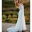 baratos Vestidos de Casamento-Linha A Decote V Cauda Escova Renda Alças Regulares Vestidos de casamento feitos à medida com 2020