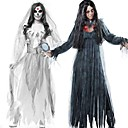 billiga Vuxenkostymer-Zombie Ghostly Bride Klänningar Cosplay Kostymer / Dräkter Vuxna Herr Cosplay Halloween Halloween Festival / högtid Polyester Cotton Svart / Vit Herr Dam Karnival Kostymer