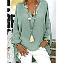Χαμηλού Κόστους Smart Wristbands-Γυναικεία Μεγάλα Μεγέθη Μπλούζα Μονόχρωμο Λαιμόκοψη V Φαρδιά Μαύρο