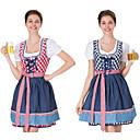 Χαμηλού Κόστους Oktoberfest-Halloween Απόκριες Νέος Χρόνος Φορέματα Dirndl Trachtenkleider Γυναικεία Φόρεμα βαυάρος Στολές Θαλασσί Ρουμπίνι / Χωριατοπούλα